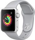 Apple Watch Series 3 (42 мм, корпус из серебристого алюминия, спортивный ремешок дымчатого цвета)